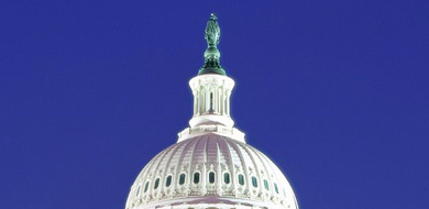 Dome of the US Capitol with statue of Freedom