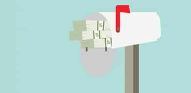 white mailbox with money