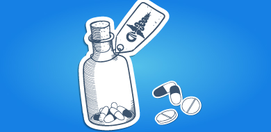 white pill bottle with pills and blue background